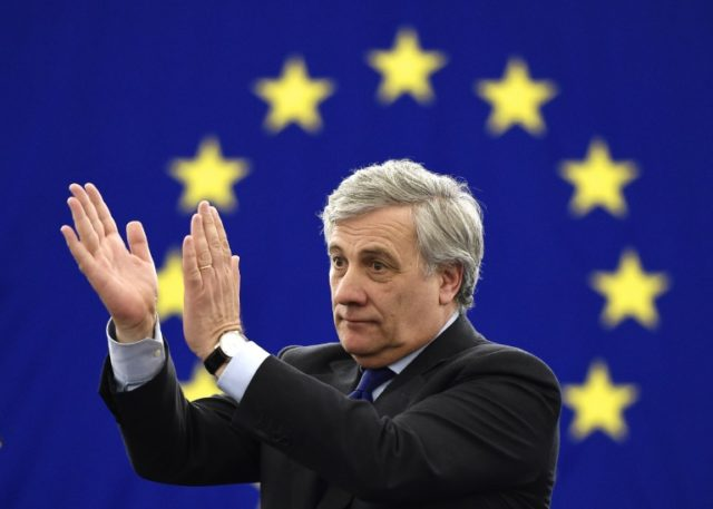 The European Parliament's new President Antonio Tajani reacts following his election in Strasbourg, eastern France, on January 17, 2017