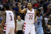 Otto Porter of the Washington Wizards celebrates after hitting a three-pointer against the Memphis Grizzlies, at Verizon Center in Washington, DC, on January 18, 2017