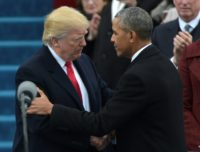 Former US President Barack Obama (right) greets President Donald Trump at the US Capitol in Washington, DC, on January 20, 2017