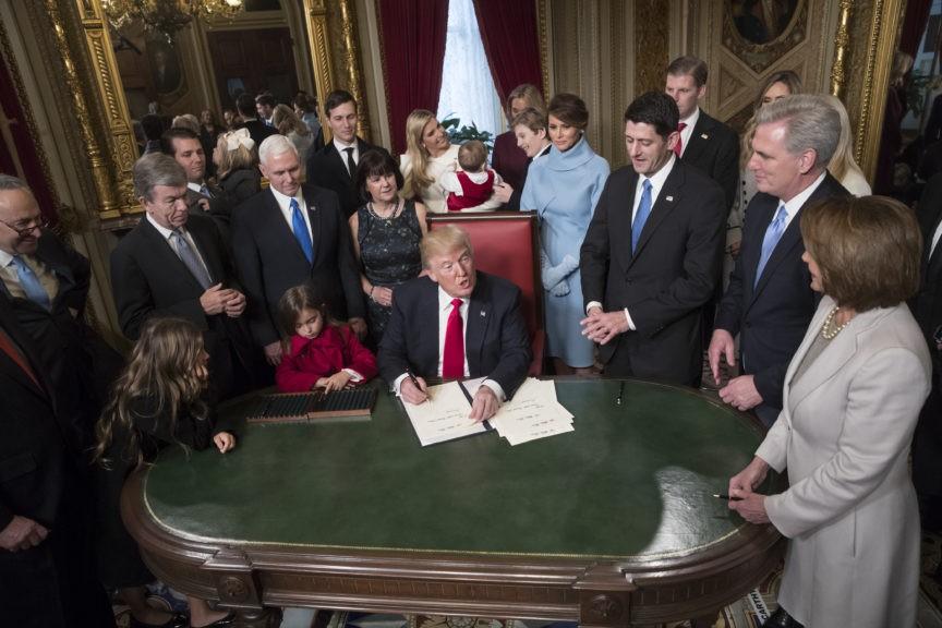 Donald Trump, Chuck Schumer, Roy Blunt, Donald Trump Jr., Mike Pence, Jared Kushner, Karen Pence, Ivanka Trump, Barron Trump, Melania Trump, Paul Ryan, Kevin McCarthy, Nancy Pelosi