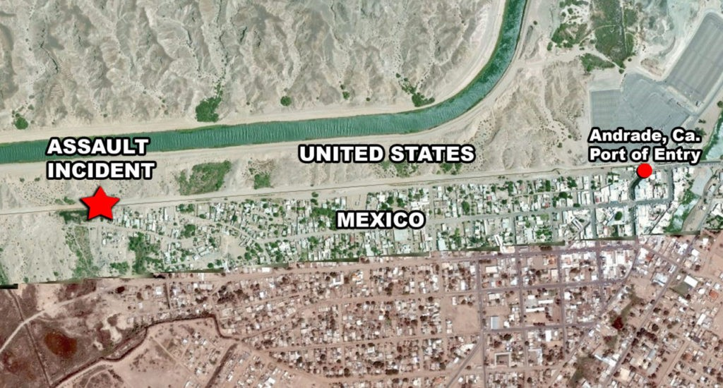 U.S. Border Patrol map shows location of assault and proximity to border. (Image: U.S. Border Patrol)