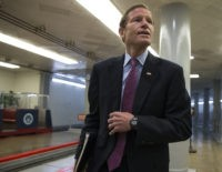 Sen. Richard Blumenthal, D-Conn., and other senators head to the chamber to vote as a rescue package for debt-stricken Puerto Rico survived a critical procedural test vote, just two days before the island is expected to default on a $2 billion debt payment, on Capitol Hill in Washington, Wednesday, June …