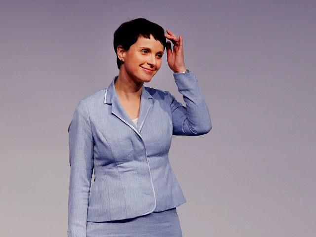 AfD (Alternative for Germany) chairwoman Frauke Petry reacts after her speech at a meeting of European Nationalists in Koblenz, Germany, Saturday, Jan. 21, 2017. (AP Photo/Michael Probst)