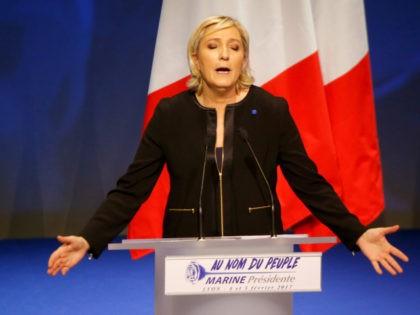 "Far-right leader presidential candidate Marine Le Pen gestures as she speaks during a conference in Lyon, France, Sunday, Feb. 5, 2017. Britain's decision to leave the European Union and the election of U.S. President Donald Trump have given the French a ""reason to vote"" because it can result in real …"