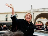 Far-right leader and presidential candidate Marine Le Pen waves in Nice where she paid homage to the 86 victims of an attack last year, Monday Feb. 13, 2017 in Nice, southern France. Le Pen is zeroing in on two of her top priorities, security and immigration, in a visit to …