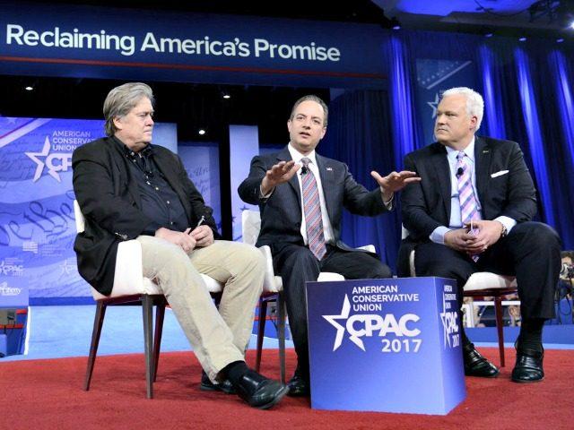 Bannon, Priebus, Schlapp CPAC '17-AFP