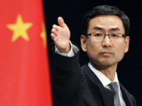 "At a regular press briefing on Dec. 12, 2016, China's Foreign Ministry spokesman Geng Shuang expresses ""serious concern"" about U.S. President-elect Donald Trump's remarks suggesting the United States need not adhere to its long-held position on the status of Taiwan under his incoming administration. (Kyodo via AP Images) ==Kyodo"