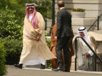 Crown Prince Mohammed bin Nayef and Deputy Crown Prince Mohammed bin Salman of Saudi Arabia are escorted by United States Chief of Protocol Peter Selfridge as they arrive at the White House May 13, 2015 in Washington, DC. The princes are scheduled to meet with President Barack Obama and Vice …