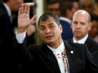 Ecuador's President Rafael Correa waves as he arrives for the taking office ceremony of Argentina's President Mauricio Macri at Casa Rosada Presidential Palace in Buenos Aires, Argentina, December 10, 2015. REUTERS/Marcos Brindicci