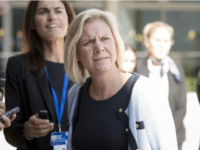 Swedish Finance Minister Magdalena Andersson arrives for an informal economic and financial affairs council (ECOFIN) on September 11, 2015, at the European Council in Luxembourg. AFP PHOTO / THIERRY MONASSE (Photo credit should read THIERRY MONASSE/AFP/Getty Images)