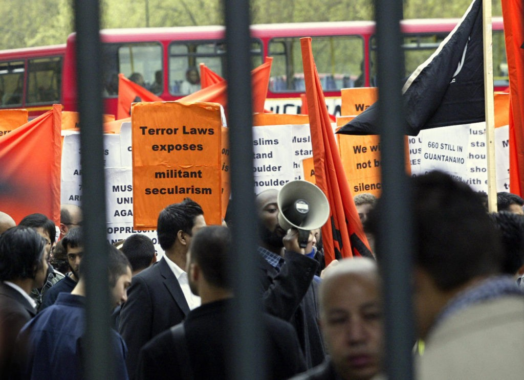 LONDON, UNITED KINGDOM: Muslims take part in a demonstration in London 30 April 2005, where they expressed their firm opposition to draconian anti-terror legislation, the detention of prisoners at Guantanamo Bay and the extraditions of Muslims to the USA. AFP PHOTO/ALESSANDRO ABBONIZIO (Photo credit should read ALESSANDRO ABBONIZIO/AFP/Getty Images)