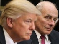 WASHINGTON, DC - JANUARY 31: Homeland Security Secretary John Kelly listens as U.S. President Donald Trump delivers remarks at the beginning of a meeting with government cyber security experts in the Roosevelt Room at the White House January 31, 2017 in Washington, DC. Citing the hack of computers at the …