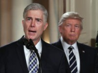 WASHINGTON, DC - JANUARY 31: Judge Neil Gorsuch delivers brief remarks after being nominated by U.S. President Donald Trump to the Supreme Court with his wife Marie Louise Gorshuch during a ceremony in the East Room of the White House January 31, 2017 in Washington, DC. If confirmed, Gorsuch would …