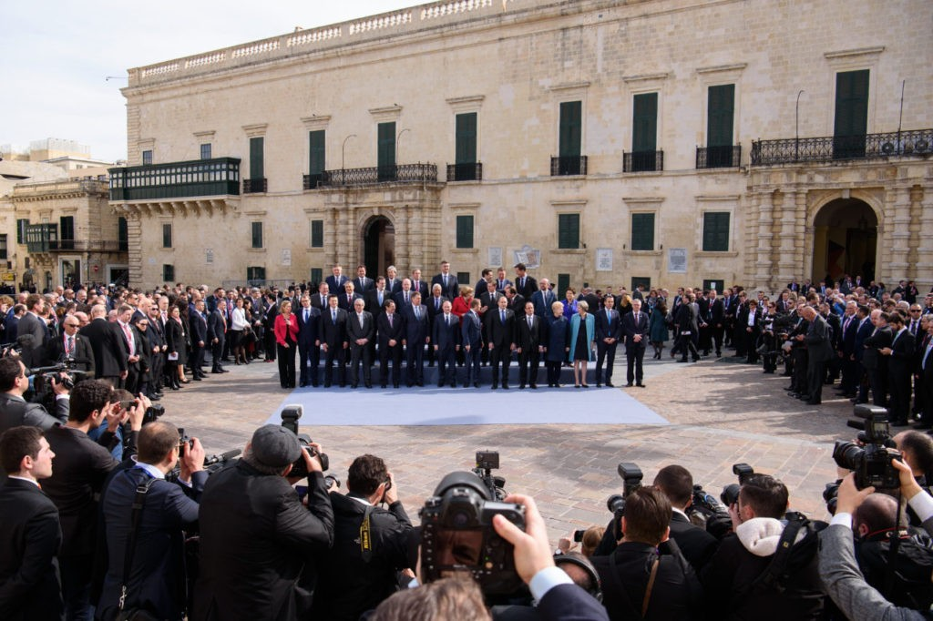 VALLETTA, MALTA - FEBRUARY 03: Delegates from the EU Informal Summit gather for the family photo on February 3, 2017 in Valletta, Malta.   Theresa May attends an informal summit of the 27 EU leaders to brief them on her recent meeting with President Trump. She has secured a guarantee from Trump that he is 100% supportive of NATO and she will encourage the EU countries to contribute the agreed 2% of their GDP on defence. (Photo by Leon Neal-Pool/Getty Images)