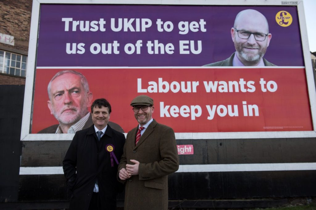 Gerard Batten, MEP (L), the Brexit Spokesman for UKIP (the UK Independence Party), and his party leader Paul Nuttall pose for a photograph in front of a UKIP electoral campaign poster in Stoke-on-Trent, central England on February 13, 2017. UKIP Leader Paul Nuttall is standing as the party's canditate in the forthcoming by-election for the seat of Stoke-on-Trent Central, which has been held by the Labour Party since 1950. / AFP / OLI SCARFF (Photo credit should read OLI SCARFF/AFP/Getty Images)