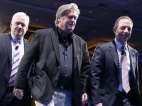 NATIONAL HARBOR, MD - FEBRUARY 23:  (R-L) White House Chief of Staff Reince Priebus, White House Chief Strategist Steve Bannon and American Conservative Union Chairman Matt Schlapp leave after a conversation during the Conservative Political Action Conference at the Gaylord National Resort and Convention Center February 23, 2017 in National Harbor, Maryland. Hosted by the American Conservative Union, CPAC is an annual gathering of right wing politicians, commentators and their supporters.  (Photo by Alex Wong/Getty Images)
