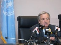 United Nations Secretary General Antonio Guterres gives a press conference on the sidelines of the 28th Ordinary Session of the Assembly of the African Union summit in Addis Ababa on January 30, 2017. African Union leaders met on January 30 for a summit that has exposed regional divisions as they …