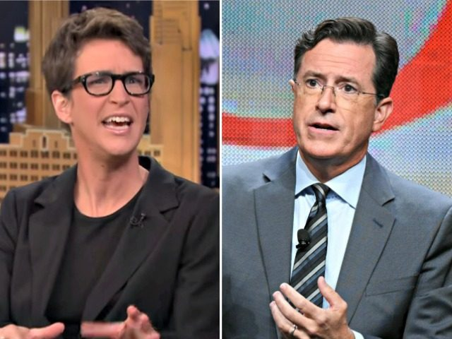 Image result for Images of Rachel maddow and Stephen colbert