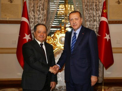 ISTANBUL, TURKEY - FEBRUARY 26: Turkish President Recep Tayyip Erdogan (R) and President of Iraqi Kurdish Regional Government (IKRG) Masoud Barzani (L) shake hands during their meeting at Mabeyn Palace in Istanbul, Turkey on February 26, 2017. (Photo by Kayhan Ozer/Anadolu Agency/Getty Images)