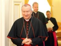 Italian Cardinal Pietro Parolin arrives to be awarded the Grand Cross of the Order of the Lithuanian Grand Duke Vytautas at the Presidential Palace in Vilnius, May 9, 2016. / AFP / Petras Malukas (Photo credit should read PETRAS MALUKAS/AFP/Getty Images)