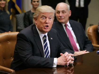 WASHINGTON, DC - JANUARY 31: U.S. President Donald Trump delivers remarks at the beginning of a meeting with Homeland Security Secretary John Kelly and other government cyber security experts in the Roosevelt Room at the White House January 31, 2017 in Washington, DC. Citing the hack of computers at the …