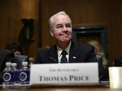 Health and Human Services secretary-nominee Rep. Tom Price (R-GA) arrives for testimony before the Senate Small Business and Entrepreneurship Committee January 24, 2017 in Washington, DC. The committee heard testimony on Price's nomination to be the head of the Department of Health and Human Services. (Photo by Win McNamee/Getty Images)