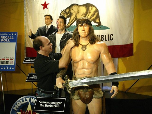 Schwarzenegger wax models (Hector Mata / AFP / Getty)