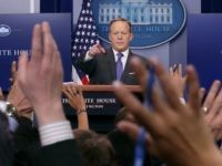 White House Press Secretary Sean Spicer reacts to reporters' questions in the Brady Press Briefing Room at the White House January 30, 2017 in Washington, DC. U.S. President Donald Trump announced Monday that he will reveal his 'unbelievably highly respected' pick to replace the late Supreme Court Antonin Scalia on …