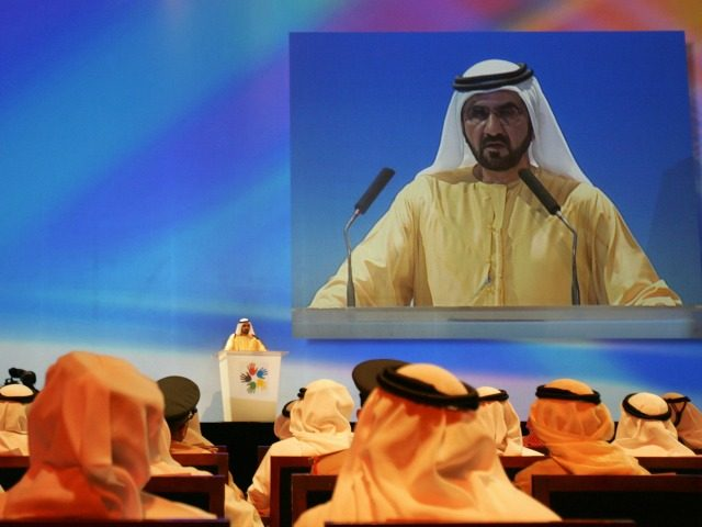 Sheikh Mohammed bin Rashed al-Maktoum, Ruler of Dubai and Prime Minister of the United Arab Emirates, speaks during the launching of new initiative 'Dubai Cares', in Dubai, 19 September 2007. The initiative aims to collect funds to educate one million children in under developed countries. AFP PHOTO/KARIM SAHIB MORE PICTURES …