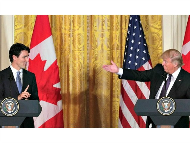 WASHINGTON, DC - FEBRUARY 13: U.S. President Donald Trump (R) and Canadian Prime Minister Justin Trudeau (L) participate in a joint news conference in the East Room of the White House on February 13, 2017 in Washington, DC. The two leaders participated in a roundtable discussion on the advancement of …