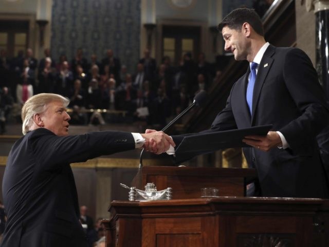 Trump and Ryan in Congress address (Jim Lo Scalzo / Associated Press)