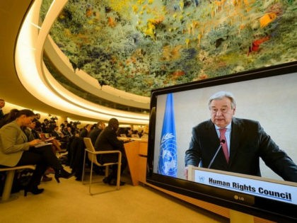 U.N. Secretary-General Antonio Guterres is seen on a TV screen while addressing the United Nations Human Rights Council on February 27, 2017 in Geneva. The United Nations Human Rights Council opens its main annual session, with the US taking its seat for the first time under President Donald Trump's leadeships. …