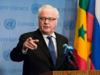 Following United Nations Security Council consultations on Syria, Russian Federation Permanent Representative to the UN Vitaly Churkin spoke with the press at the Security Council stakeout at UN Headquarters in New York, NY, USA on December 30, 2016. (Photo by Albin Lohr-Jones) *** Please Use Credit from Credit Field ***(Sipa …