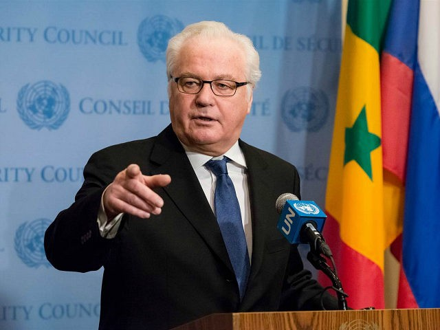 Following United Nations Security Council consultations on Syria, Russian Federation Permanent Representative to the UN Vitaly Churkin spoke with the press at the Security Council stakeout at UN Headquarters in New York, NY, USA on December 30, 2016. (Photo by Albin Lohr-Jones) *** Please Use Credit from Credit Field ***(Sipa via AP Images)