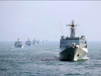 UNSPECIFIED, CHINA - FEBRUARY UNDATED: Landing ships of the People's Liberation Army Navy's South Sea Fleet drill in mid-February, 2017 in China. 10 landing ships of the PLA South Sea Fleet practise formation movement, formation defense, live fire of naval gun, joint search and rescue, simulated replenishment, air cushion getting …