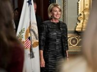 Betsy DeVos, United States Secretary of Education, arrives to be sworn in by U.S. Vice President Mike Pence, not pictured, in the Vice President's Ceremonial Office in Washington, D.C., U.S., on Tuesday, Feb. 7, 2017. DeVos squeaked through a history-making Senate confirmation vote to become U.S. education secretary, as Vice …