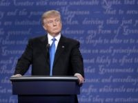 Republican presidential nominee Donald Trump stands at his podium during the Presidential Debate at Hofstra University on September 26, 2016 in Hempstead, New York. The first of four debates for the 2016 Election, three Presidential and one Vice Presidential, is moderated by NBC's Lester Holt. (Photo by Win McNamee/Getty Images)