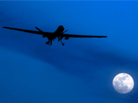 In this Jan. 31, 2010 file photo, an unmanned U.S. Predator drone flies over Kandahar Air Field, southern Afghanistan, on a moon-lit night. A U.N. expert on Friday, Oct. 18, 2013 called on the United States to reveal the number of civilians it believes have been killed by American drone strikes targeting Islamic militants. U.N. Special Rapporteur Ben Emmerson said that preliminary information gathered for a new report indicated more than 450 civilians may have been killed by drone strikes in Pakistan, Afghanistan and Yemen, but more work needs to be done to confirm the figures.(AP Photo/Kirsty Wigglesworth, File)