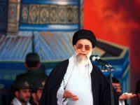 Iranian supreme leader Ayatollah Ali Khamenei addresses 110,000 Basij forces (volunteers) in Tehran, Iran Friday, Oct. 20, 2000, against a backdrop depicting Jerusalem's al Aqsa mosque. Khamenei said Friday that getting rid of Israel was the only permanent solution for the Middle East crisis and that Palestinians could only liberate their land through resistance. (AP Photo/Hasan Sarbakhshian)