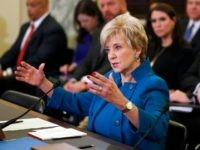 Small Business Administration Administrator-designate, former wrestling entertainment executive, Linda McMahon testifies on Capitol Hill in Washington, Tuesday, jan. 24, 2017, at her confirmation hearing before the Senate Small Business and Entrepreneurship Committee.  (AP Photo/Alex Brandon)