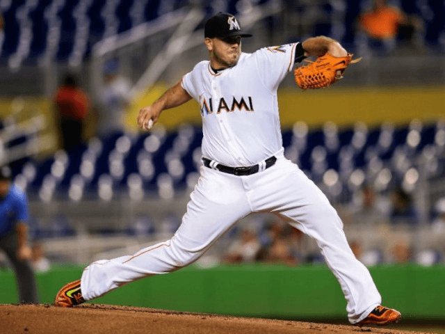 Jose Fernandez of the Miami Marlins in action in a home game against the Washington Nationals on September 20, 2016