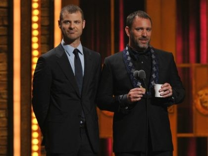Matt Stone and Trey Parker onstage at the 66th Annual Tony Awards at The Beacon Theatre on June 10, 2012 in New York City. (Photo by Theo Wargo/Getty Images)