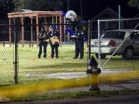 Police gather evidence after a shooting at a playground on November 22, 2015 in New Orleans, Louisiana. According to reports, as many as 16 people were shot at Bunny Friend Park while attending a party at a playground. (Photo by Cheryl Gerber/Getty Images)