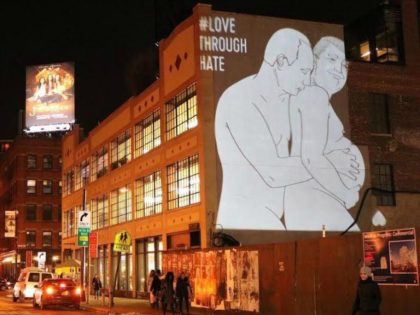 Image of Putin Snuggling a Pregnant Donald Trump Projected on New York Apple Store