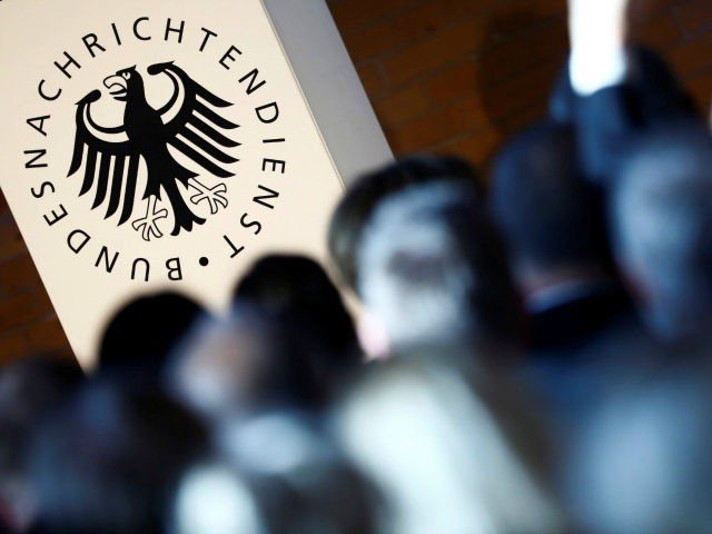 The logo of the German Federal Intelligence Agency (BND) is pictured during the 60th anniversary of the founding of the German Intelligence Services (BND) in Berlin, Germany, on November 28, 2016. / AFP / POOL / HANNIBAL HANSCHKE (Photo credit should read HANNIBAL HANSCHKE/AFP/Getty Images)