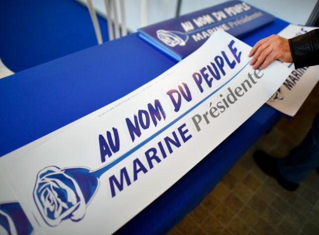 LYON, FRANCE - FEBRUARY 04: Election campaign material at the launch of the Marine Le Pen National Front Presidential campaign in the Centre de Congres on February 4, 2017 in Lyon, France. One of the most unpredictable French elections has got underway, with National Front leader promising to protect the …