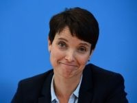 "Co-leader of the ""Alternative fuer Deutschland"" (AfD) Frauke Petry reacts during a press conference one day after regional election polls in Berlin on September 19, 2016. The Alternative for Germany (AfD) harnessed a wave of anger over the refugee influx to claim around 14 percent of the vote in a …"