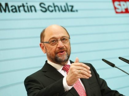 Former European Parliament chief Martin Schulz, Chancellor candidate of Germany's Social Democratic Party (SPD), gives a press conference at the SPD headquarters in Berlin on January 30, 2017. / AFP / Odd ANDERSEN (Photo credit should read ODD ANDERSEN/AFP/Getty Images)