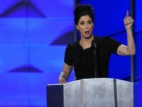 US Senator Al Franken (L) looks on as comedian Sarah Silverman speaks gestures during Day 1 of the Democratic National Convention at the Wells Fargo Center in Philadelphia, Pennsylvania, July 25, 2016. / AFP / SAUL LOEB (Photo credit should read SAUL LOEB/AFP/Getty Images)