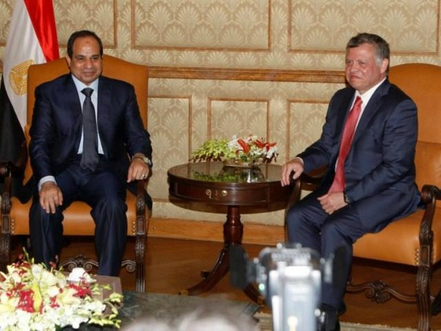 Jordan's King Abdullah (R) meets with Egypt's President Abdel Fattah al-Sisi at the Royal Palace in Amman December 11, 2014.. (photo credit:REUTERS)